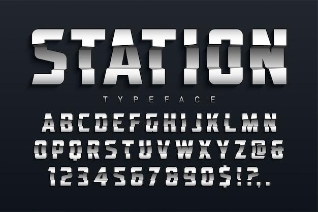 Design futuristico del carattere tipografico del display della stazione