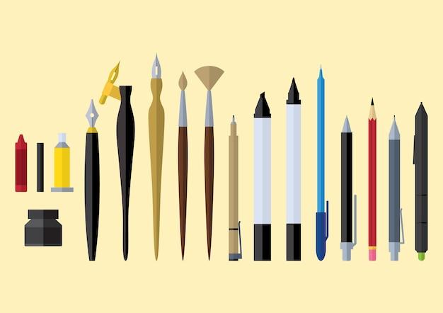 Design piatto di strumenti fissi artista stazionario