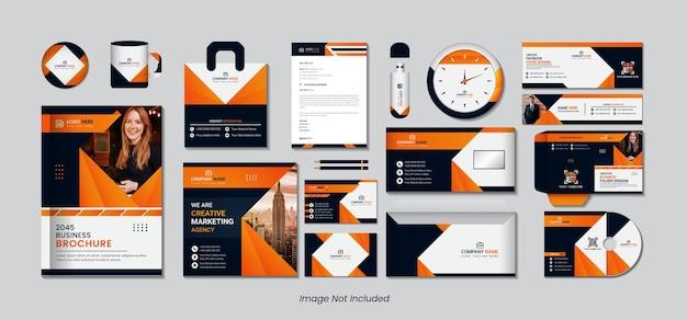 Set di design stazionario con forme semplici di colore sfumato giallo, arancione e nero.