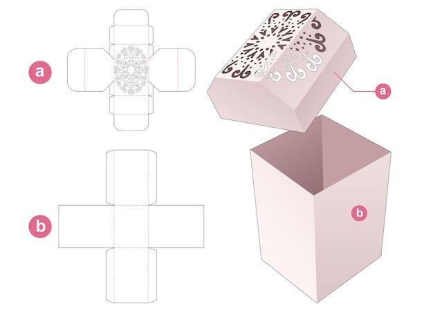 Scatola di cancelleria e coperchio smussato con modello fustellato a mandala stampato
