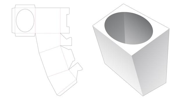 Scatola di cancelleria con sagoma fustellata con bordo a forma di ellisse