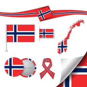 Collezione di cancelleria con la bandiera del disegno norvegese