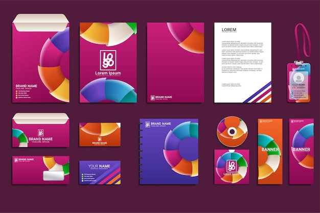 Set di mockup di identità del marchio aziendale di cancelleria