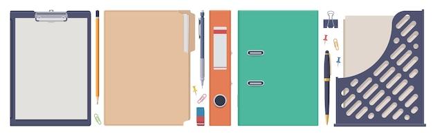 Set di cancelleria. cartelle, appunti, vassoio. collezione