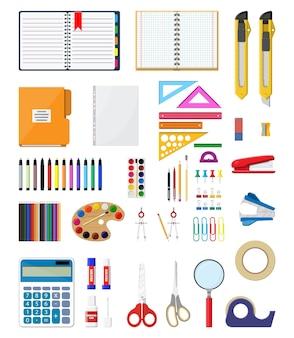 Set di icone di cancelleria. libro, taccuino, righello, coltello, cartella, matita, penna, calcolatrice, forbici, file di nastro adesivo articoli per ufficio scuola attrezzature per ufficio e istruzione