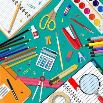 Set di icone di cancelleria. libro, taccuino, righello, coltello, cartella, matita, penna, calcolatrice, forbici, file di nastro adesivo