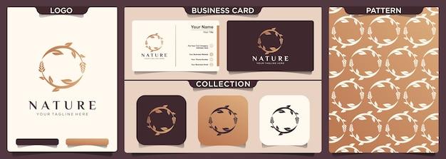 Set di cancelleria di natura logo modello e biglietto da visita