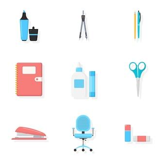 Set di illustrazioni di assortimento di cartolerie, raccolta di materiale scolastico e per ufficio, pennarello, penna e matita.