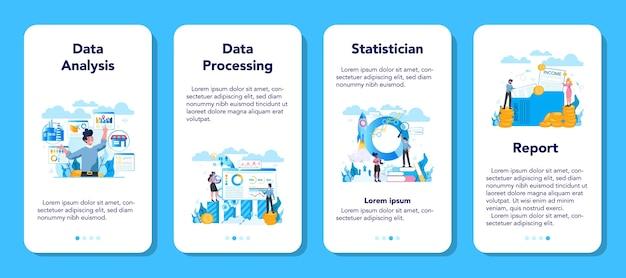 Set di banner per applicazioni mobili di statistica e statistica.