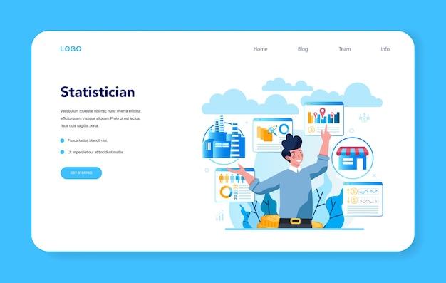 Statistico e banner web di statistica o pagina di destinazione. specialista