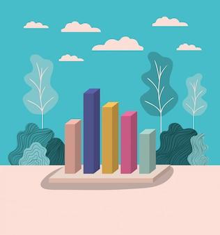 Barre di statistica con paesaggio forestale