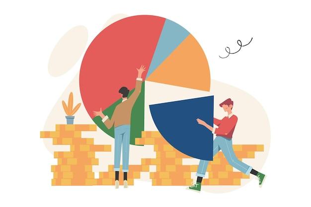 Statistiche e report aziendali, le persone come puzzle raccolgono infografiche