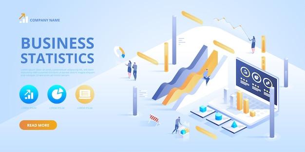 Statistiche e dichiarazione aziendale. infografica isometrica per ba