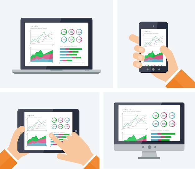 Statistiche. infografica con grafici ed elementi grafici sugli schermi dei dispositivi.