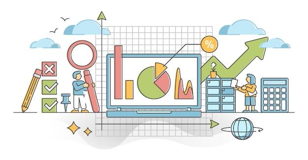Visualizzazione delle informazioni statistiche con grafici e grafici delineano il concetto