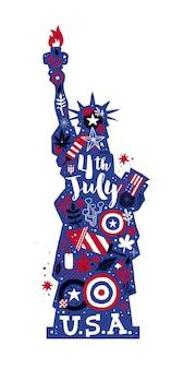 Illustrazione della statua della libertà con elementi astratti.