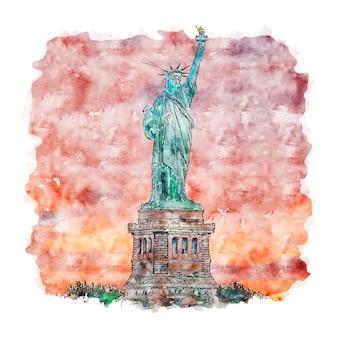 Illustrazione disegnata a mano di schizzo dell'acquerello di new york della statua della libertà