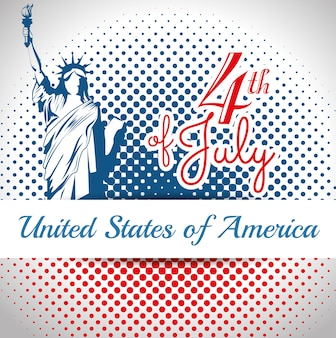 Sagoma della statua della libertà e il 4 luglio