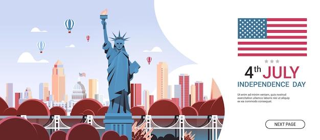 Statua della libertà sopra i punti di riferimento degli stati uniti il concetto di celebrazione del giorno dell'indipendenza, banner del 4 luglio