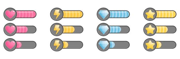 Icone di stato con processo di riempimento, barra di caricamento.