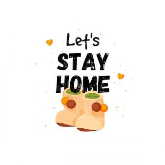 Banner di preventivo stay home challenge. resta a casa, in quarantena. stampa design con lettere scritte sulla casa. restiamo a casa. poster di una casa accogliente con grandi pantofole divertenti.