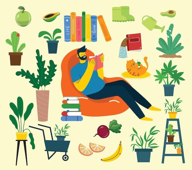Rimani a casa raccolta attività al chiuso concetto di comfort e intimità insieme di illus...