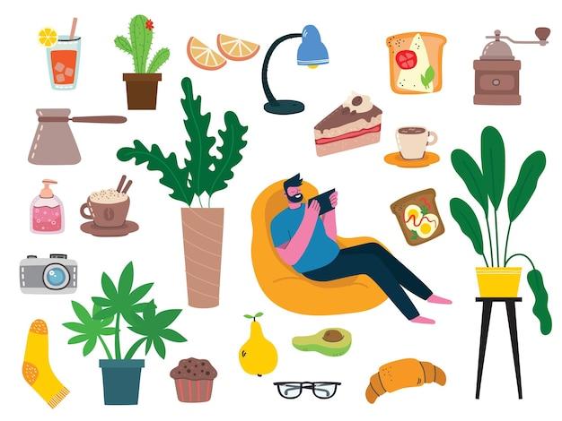 Stay home collection, attività al chiuso, concetto di comfort e intimità, set di illustrazioni vettoriali isolate, stile scandinavo hygge, periodo di isolamento a casa in stile piatto