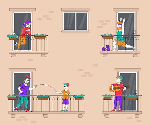 Concetto di soggiorno a casa persone sui balconi durante l'isolamento da pandemia di coronavirus