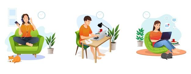 Rimanere a casa concetto serie persone sedute a casa loro. rilassarsi con la musica. lavora con il computer portatile. Vettore Premium
