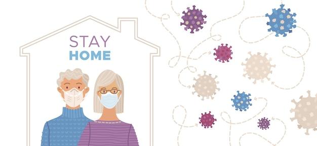 Rimanere a casa concetto con coppia di età compresa tra indossando maschere mediche