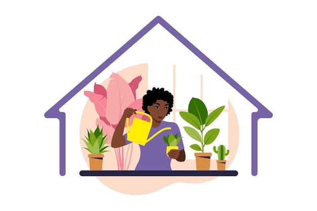 Resta a casa concetto. donna che innaffia le piante d'appartamento a casa. giardino domestico e concetto di piante d'appartamento. illustrazione piatta.