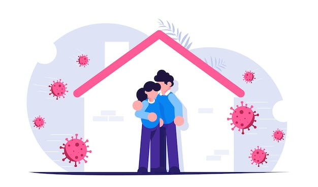 Resta a casa durante l'epidemia di coronavirus famiglia che rimane a casa in auto quarantena per proteggersi dal virus