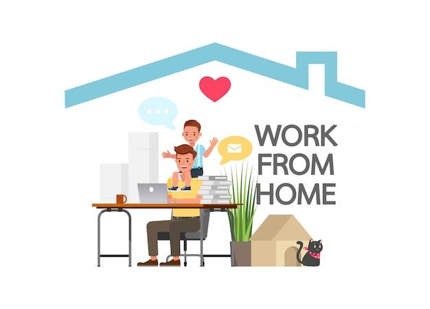 Resta a casa durante l'epidemia di coronavirus. distanziamento sociale, concetto di autoisolamento. uomo che lavora a casa.
