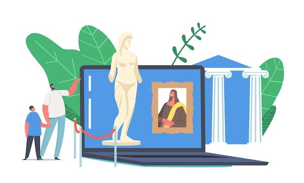 Rimanere il concetto di intrattenimento domestico. i personaggi visitano il museo online, il tour della galleria virtuale, il tempo libero per l'arte terapia, l'istruzione online in diretta dalla mostra moderna. cartoon persone illustrazione vettoriale