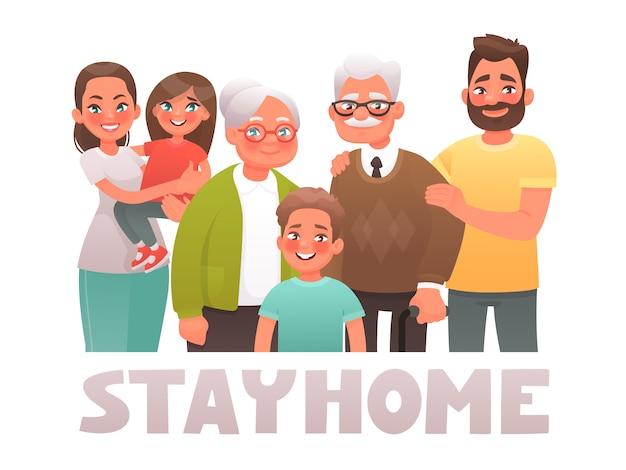 Resta a casa. famiglia in quarantena. protezione covon-19 coronavirus. poster motivazionale volto a ridurre la diffusione dell'infezione