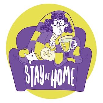 Resta a casa. ragazza seduta sul divano a mangiare