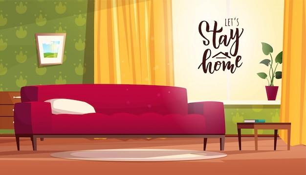 Resta a casa testo scritte a mano per la quarantena. accogliente salotto interno in stile cartone animato. divano rosso, cassettiera, finestra con luce intensa e tende gialle.