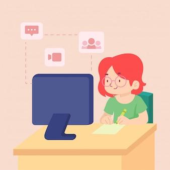 Rimanere a casa imparando comunicando concetto illustrazione