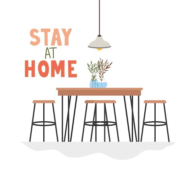 Soggiorno a casa scritta con tavolo, sedie, piante, decorazione della lampada