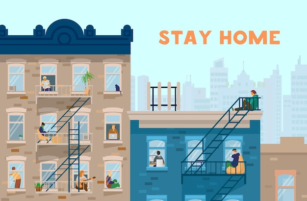 Resta a casa motivazionale. le persone alle finestre restano a casa. parte anteriore delle case di mattoni. illustrazione piatta.