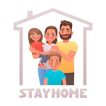 Resta a casa. genitori e figli in quarantena. famiglia sotto il tetto della casa. poster motivazionale volto a ridurre la diffusione del coronavirus covid-19.