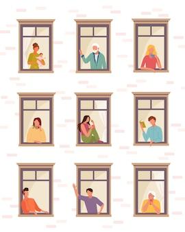 Rimanere a casa persone auto isolamento. persone vita in quarantena finestre aperte ragazzo ascolta musica legge libro saluta donna bambino ragazza beve caffè parla telefono, gli anziani guardano fuori.