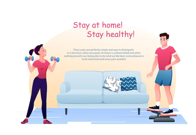 Resta a casa in quarantena. personaggi attivi uomo donna fanno esercizi. concetto di coronavirus