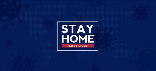 Resta a casa, la quarantena e l'avvertimento interrompono il coronavirus covid19 che diffonde la tipografia di lettere sicure