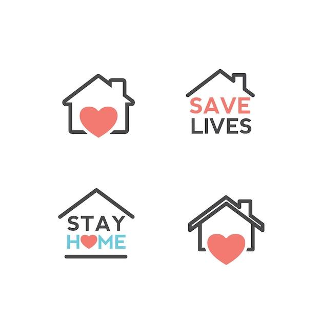 Resta a casa, la quarantena e l'avvertimento interrompono il coronavirus covid19 che diffonde la tipografia di lettere sicure Vettore Premium