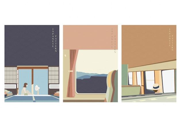 Resta a casa con il motivo a onde giapponese. modello di viaggio in treno in stile vintage.