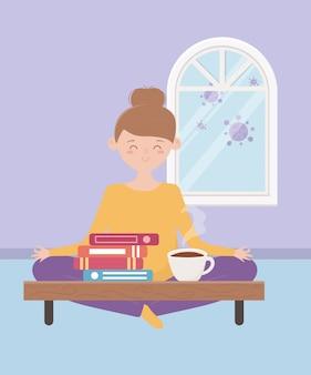 Resta a casa, donna seduta sul pavimento con libri e tazza di caffè