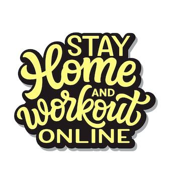Resta a casa e allenamento in linea illustrazione