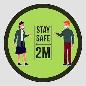 Stai al sicuro covid19 campagna di prevenzione con coppie che indossano maschere mediche