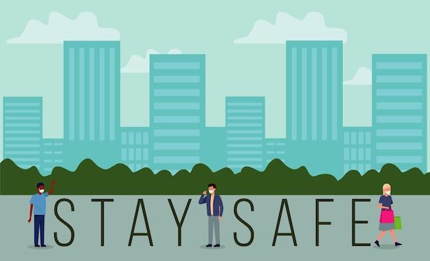 Stai al sicuro covid19 campagna di prevenzione con persone che indossano maschere mediche in città